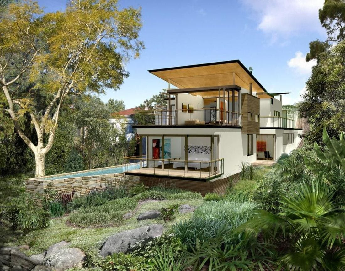 Building on a sloping block arcadia homes qld for House plans for steep sloping lots